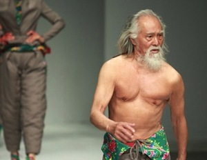 79 year-old Wang Deshun takes to the catwalk at China Fashion Week.